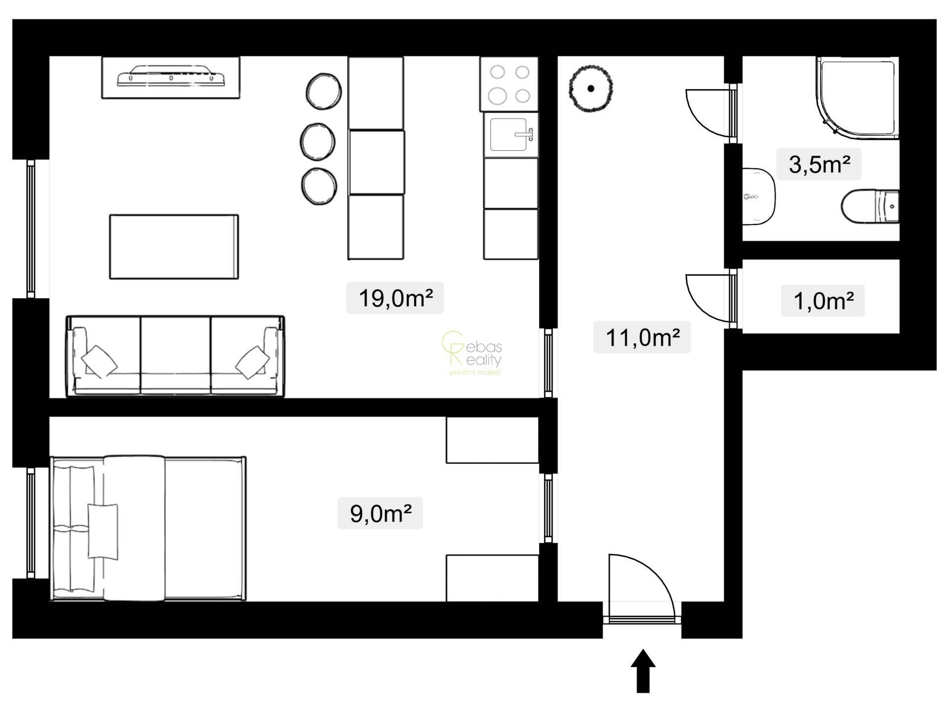 Pronájem bytu 2+kk - ul.Branická, Praha 4 - Braník